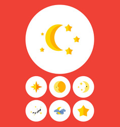 Flat icon midnight set of bedtime lunar night vector