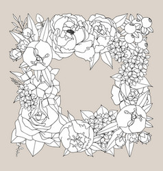 frame with peonies and roses hand drawing vector image