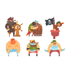 funny brave sailors pirates and captain set male vector image