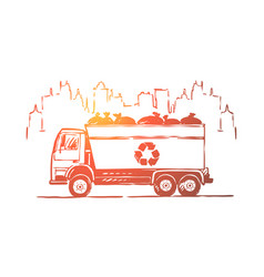 garbage truck lorry automobile with litter bags vector image