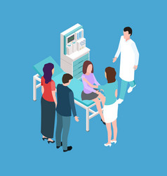girl teenager on medical check up isometric vector image