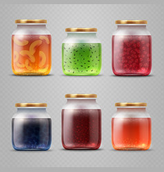 Glass jar with with jam and fruit marmalade vector