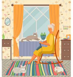 Grandma knitting in her rocking-chair sitting vector