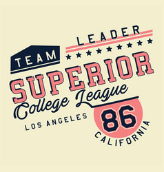 Graphic superior college league vector