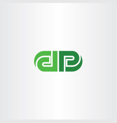 green letters d and p logo icon vector image