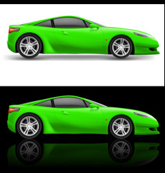 Green sport car icon on white and black vector
