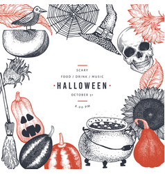halloween design template hand drawn banner vector image