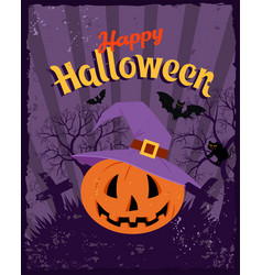 happy halloween vintage poster bat and spider vector image