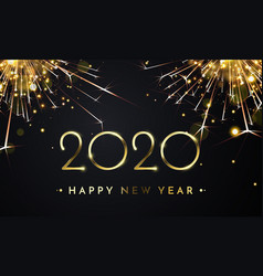 Happy new year glitter gold fireworks golden vector