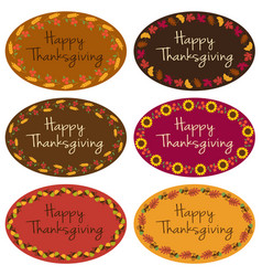 happy thanksgiving oval labels vector image