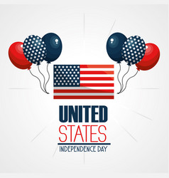 Independence day with flag and balloons vector
