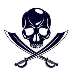 Jolly roger dead head aggressive skull pirates vector