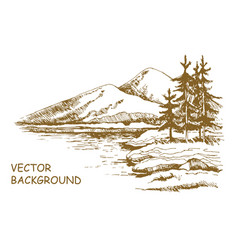 landscape sketch alaska background vector image