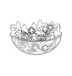 Line delicious fresh organ salad in the bowl vector