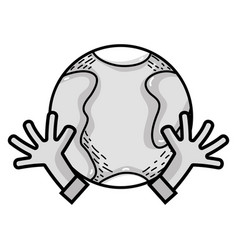 Line earth planet with hands and peace symbol vector