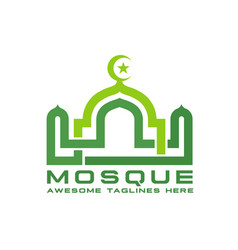 linear mosque logo vector image