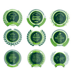 luxury green circular laurel wreath and badges vector image