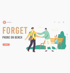Male character lost tablet or smartphone on bench vector