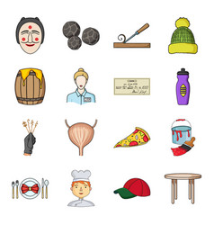 Man cook cap and other web icon in cartoon style vector