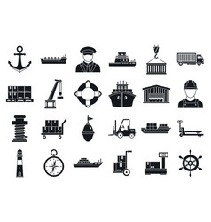 marine port transport icons set simple style vector image