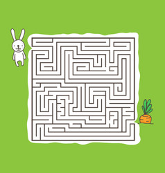 maze game with rabbit and carrot vector image