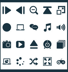 Media icons set with record monitor shuffle and vector