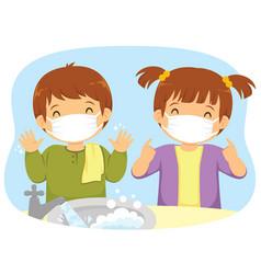 medical masks and hand washing vector image
