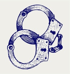 Metallic handcuffs vector image