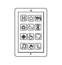 monochrome contour with tablet screen icons vector image