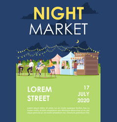 Night market brochure template food court at vector