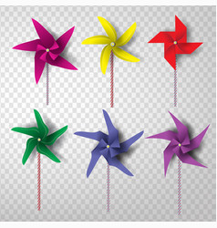 paper art and craft of colorful turbine set vector image vector image