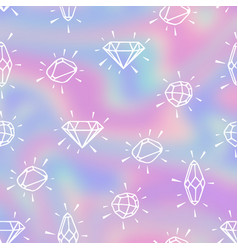 Pattern with crystals on a blurry hologram vector