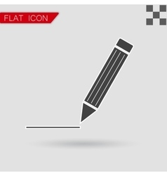 Pen Icon Flat Style with red vector image