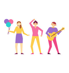 people having fun on birthday party woman and man vector image