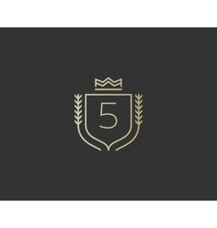 Premium number 5 ornate logotype Elegant numeral vector