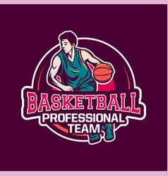 Professional team basketball modern logo badge vector