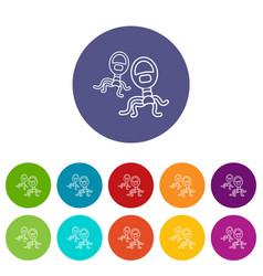 protozoan virus icons set color vector image