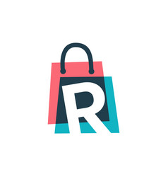 R letter shop store shopping bag overlapping vector