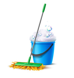 Realistic mop blue bucket with soapy foam vector