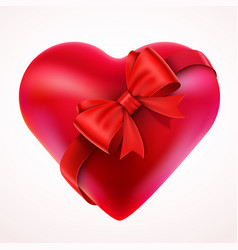 red valentine heart gift with bow and tape vector image