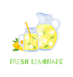 Refreshing lemonade glass jar with straw vector