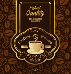 Retro Vintage Coffee Background with Label vector