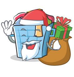 Santa laundry basket character cartoon vector
