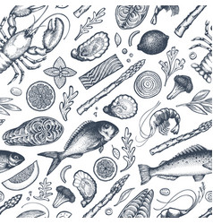 Seafood and fish seamless pattern hand drawn vector