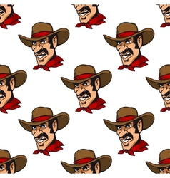 Seamless background with cowboy in hat vector image vector image
