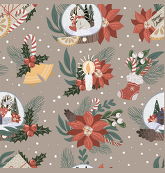 seamless pattern with christmas decor and flowers vector image