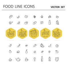 Set food and drinks icons for restaurant vector