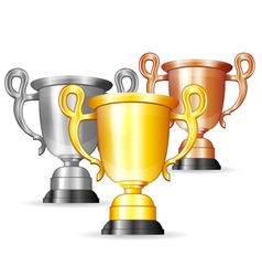 set gold silver and bronze trophies vector image