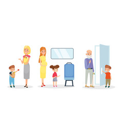 set kids helping adults vector image