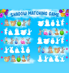 Shadow matching kids game with easter rabbits eggs vector